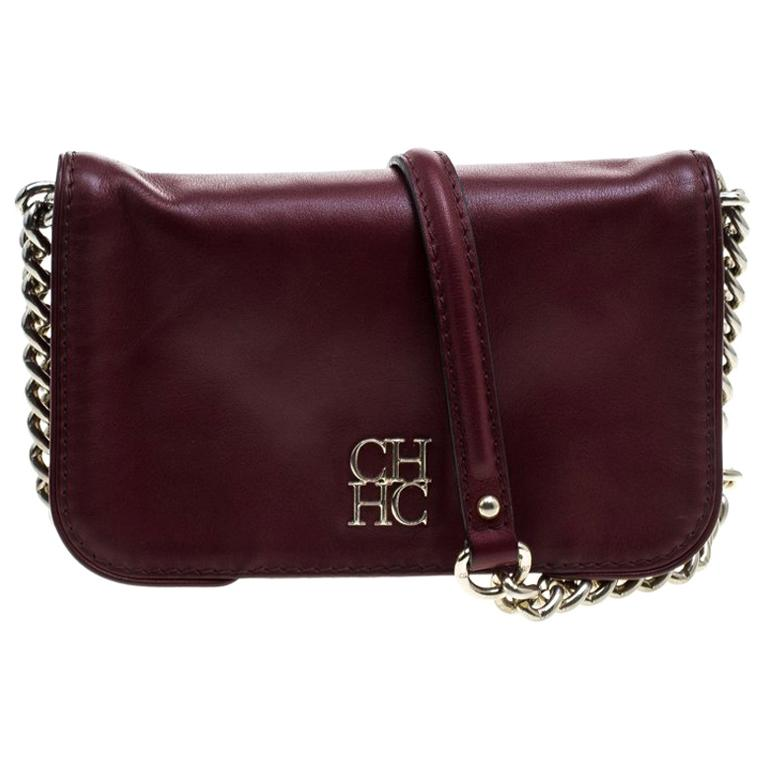 Carolina Herrera Burgundy Leather New Baltazar Crossbody Bag For Sale