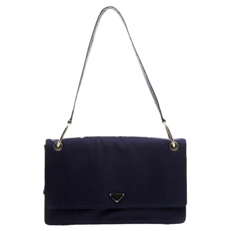 960b18e5c9f5 Prada Navy Blue Tessuto Nylon Flap Shoulder Bag For Sale at 1stdibs