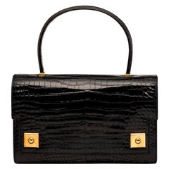 Hermes Black Crocodile Evening Gold Top Handle Satchel Kelly Style Bag in Box