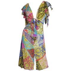 1990s Gianni Versace Silk Print Plunge Dress