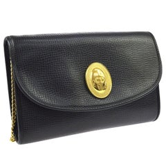 Christian Dior Black Leather Gold Emblem Logo 2 in 1 Clutch Shoulder Flap Bag
