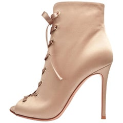 Gianvito Rossi NEW Champagne Gold Tie Evening Ankle Boots Booties