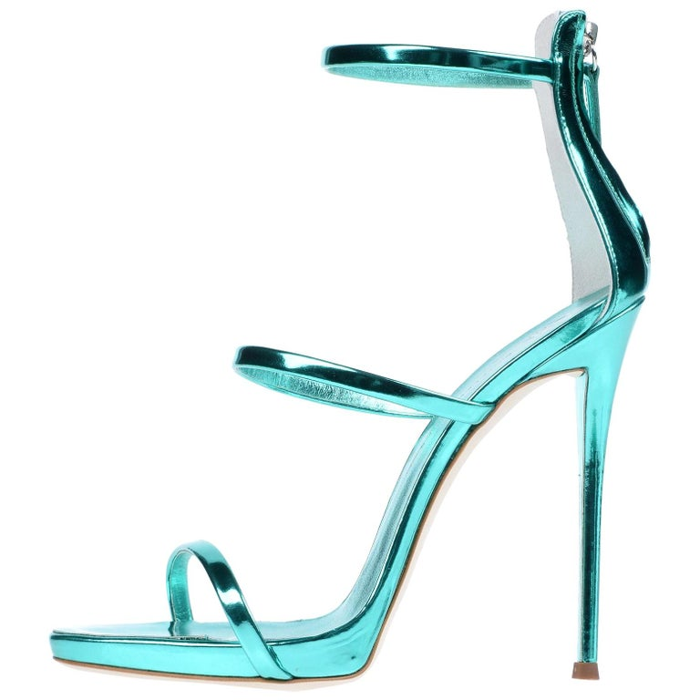 Giuseppe Zanotti NEW Teal Leather Evening Strappy Ankle Sandals Heels in Box For Sale