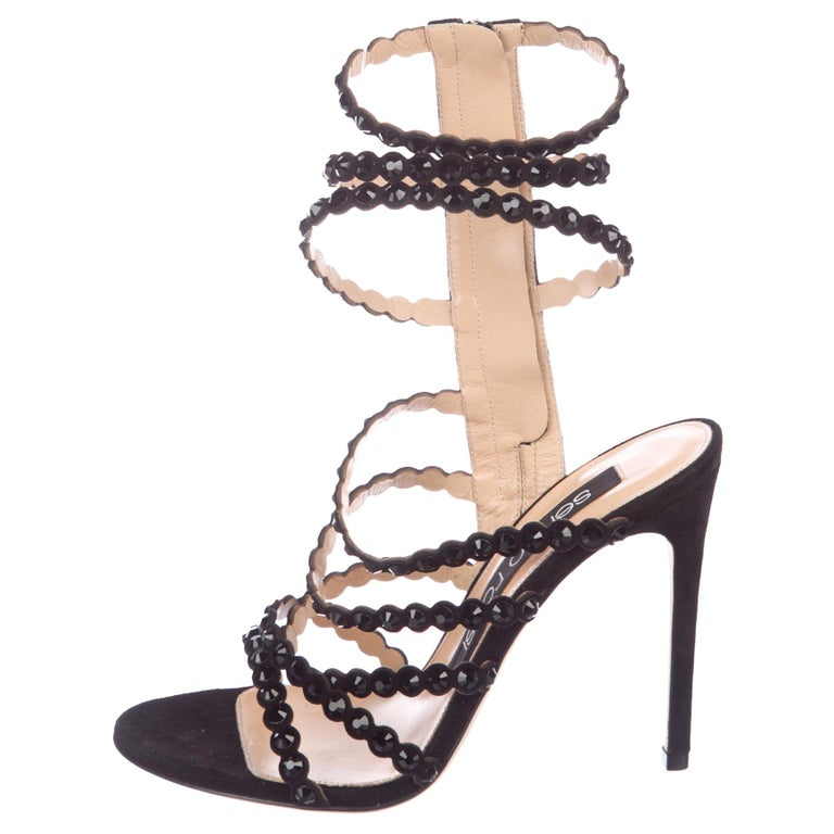 cb69a8d35cc4 GIANVITO ROSSI NEW Black Leather Crystal Gladiator Strappy Sandals Heels in  Box For Sale