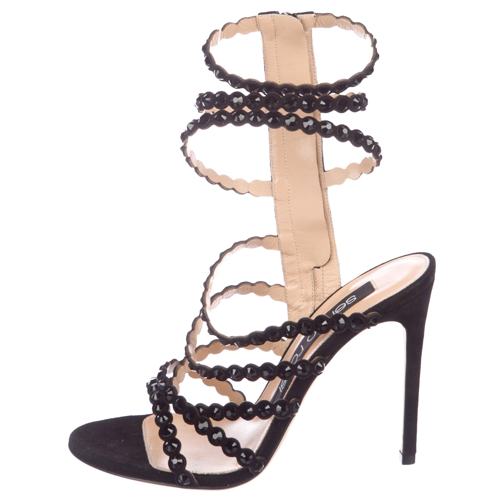 e43a2196ae27 GIANVITO ROSSI NEW Black Leather Crystal Gladiator Strappy Sandals Heels in  Box For Sale at 1stdibs