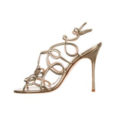 Manolo Blahnik NEW Gold Leather Swirl Evening Sandals Heels in Box