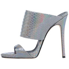 Giuseppe Zanotti NEW Silver Slides Mules Evening High Heels Sandals in Box