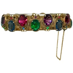 Circa 1930s Goldtone Hinged Bangle Set With Bright Jewel Tone Faceted Stones