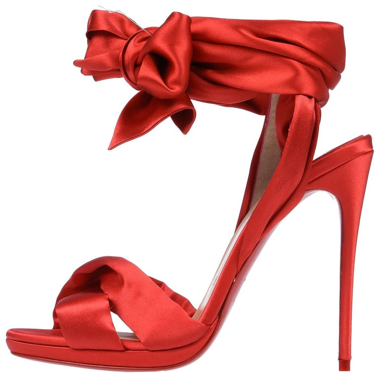8faecc4b26a1 Christian Louboutin NEW Red Satin Bow Evening Sandals Pumps Heels in Box  For Sale at 1stdibs