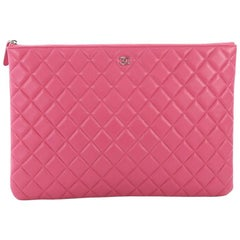 Chanel O Case Clutch Quilted Lambskin Large
