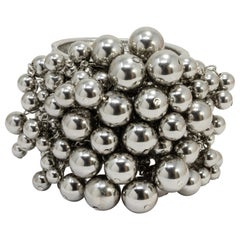 Oscar de la Renta Silver Metallic Sphere Embellished Cluster Bangle Bracelet