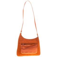 Prada Orange Suede and Satin Shoulder Bag