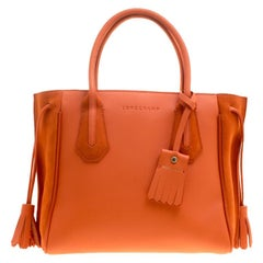 Longchamp Orange Leather and Suede Penelope Fantaisie Tote