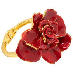 Oscar de la Renta Big Bold Painted Red Rose Hinged Bracelet in Gold
