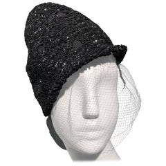 1950s William Silverman Sequin Encrusted Black Peaked Hat With Veil