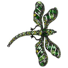 KJL Kenneth Jay Lane Embellished Green Crystal Dragonfly Pin, Dark Gunmetal