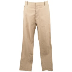 MARNI Size 34 Khaki Solid Cotton 32 Button Fly Casual Pants