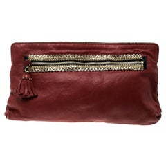Chloe Red Leather Crystal Embellished Clutch