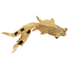 Oscar de la Renta Crystal and Resin Cabochon Fish in Gold