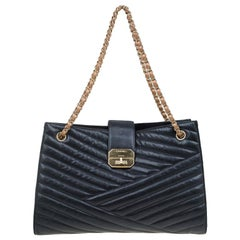Chanel Black Chevron Quilted Leather Gabrielle Chain Shopping Tote