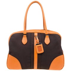 Prada Bi Color Leather and Canvas Bowling Bag