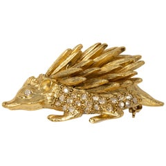 Oscar de la Renta Pave Crystal Hedgehog Brooch, Pin in Gold