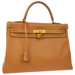 Hermes Kelly 35 Cognac Leather Top Handle Satchel Shoulder Tote Bag