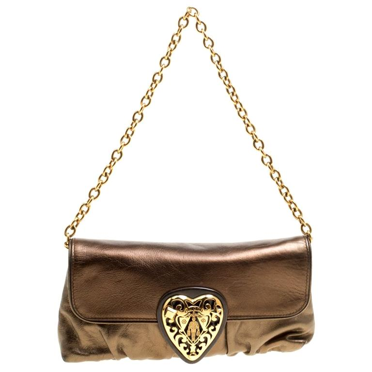 d3387fa95321 Gucci Metallic Khaki Leather Hysteria Shoulder Bag For Sale at 1stdibs