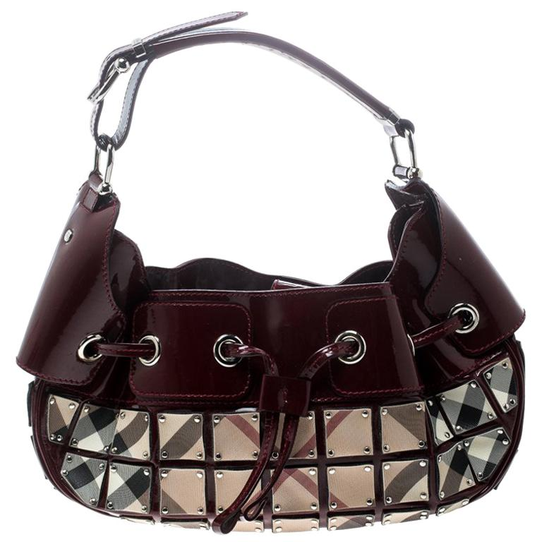 da89c2e32157 Burberry Patent Leather and Super Nova Check Mini Warrior Studded Hobo For  Sale