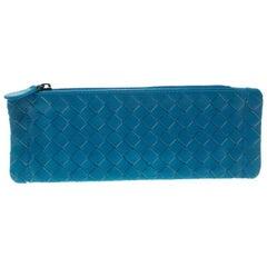 Bottega Veneta Cerulean Blue Intrecciato Leather Pouch
