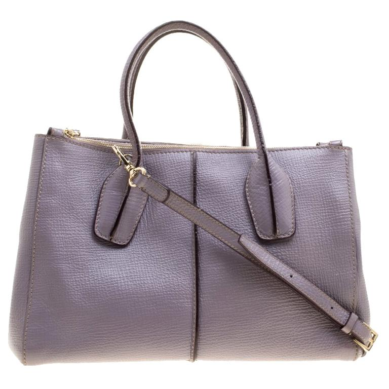 Tod's Lilac Leather D-Styling Shopper Tote For Sale