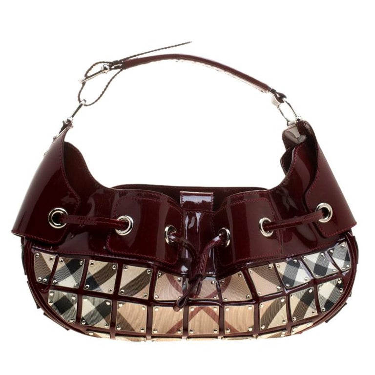 7613397690 Chloé Roy Flat Suede   Leather Shoulder Bag - Shoulder Bags - 505554418.  Burberry Maroon Patent Leather and Super Nova Check Mini Warrior Studded  Hobo For ...