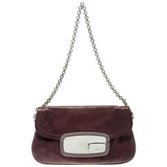 Prada Purple Leather Chain Shoulder Bag