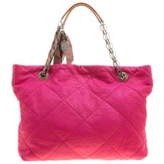 Lanvin Pink Quilted Leather Amalia Cabas Tote