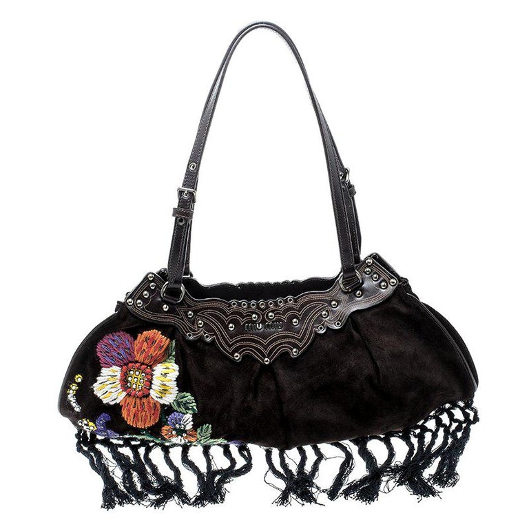 c193569a6a85 Miu Miu Brown Suede Flower Embroidered Shoulder Bag For Sale at 1stdibs