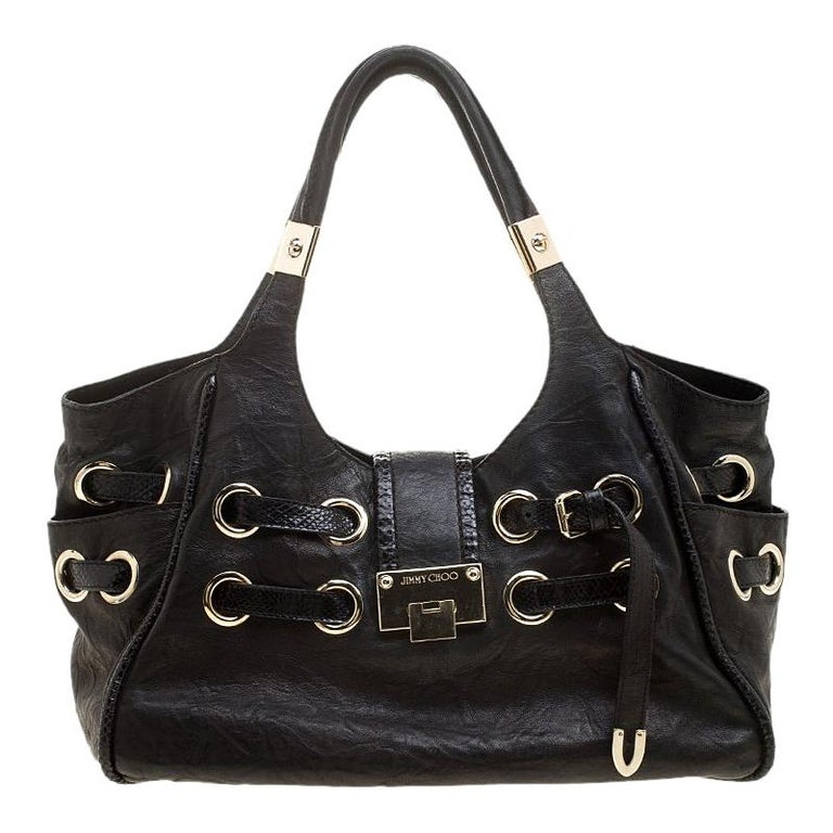 36bd48220d6a Jimmy Choo Black Glazed Crinkled Leather Riki Tote For Sale at 1stdibs
