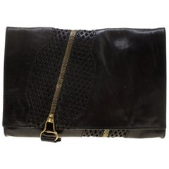 Jimmy Choo Black Perforated Leather Martha Clutch