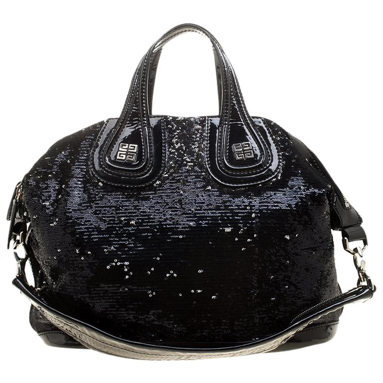 Givenchy Black Sequin and Patent Leather Medium Nightingale Tote For Sale 6e3067aa673e6
