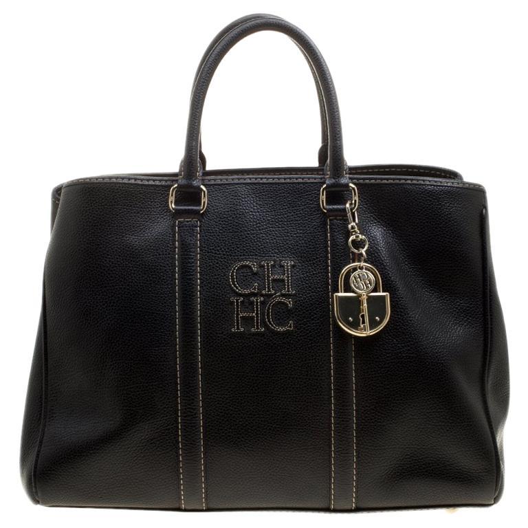 Carolina Herrera Black Leather Matteo Tote For Sale