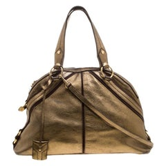 Saint Laurent Paris Bronze/Brown Leather and Suede Satchel