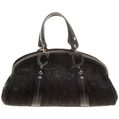 Dior Black Diorissimo Canvas Embroidered Flowers Frame Satchel