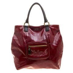 Chloe Red/Black PVC and Leather Tote