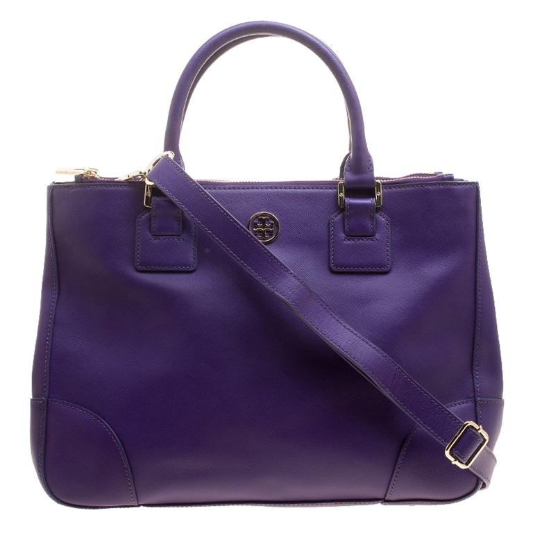 Tory Burch Purple Leather Robinson Tote For Sale at 1stdibs 545dd0fe1836