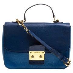 Miu Miu Blue Leather Madras Top Handle Crossbody Bag
