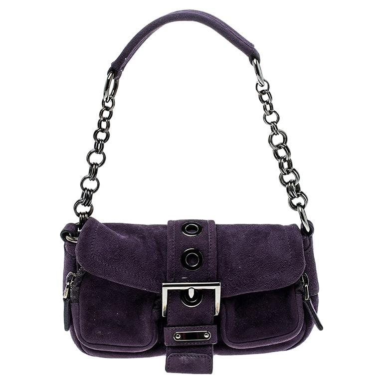 2e39b913a948 Prada Purple Suede Chain Shoulder Bag For Sale at 1stdibs