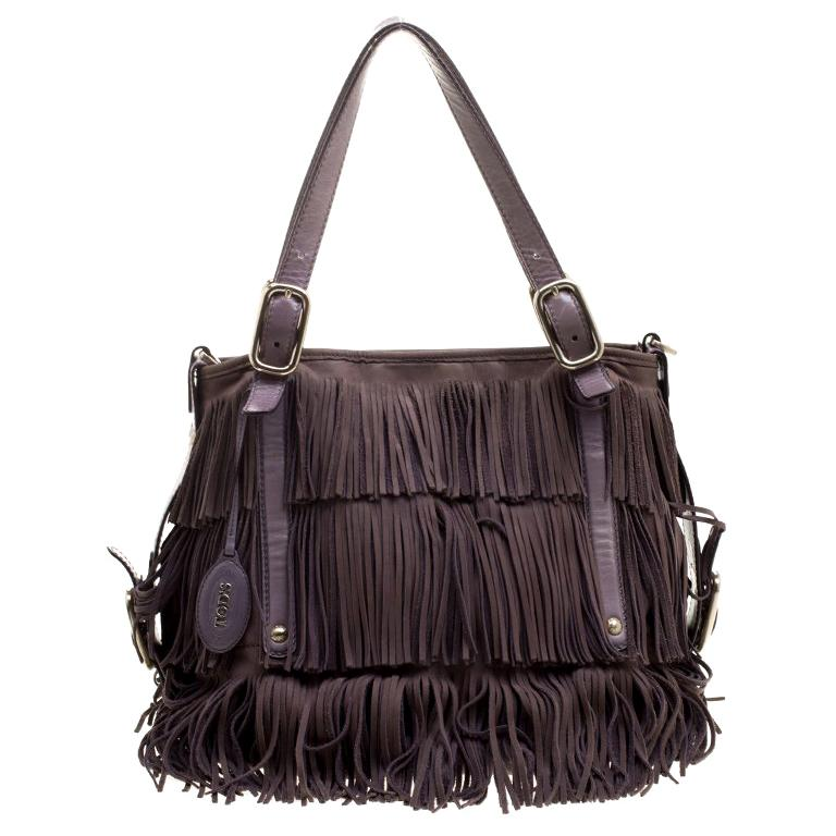 fdd3d0be13d Tod's Lilac Leather Fringe G Bag at 1stdibs