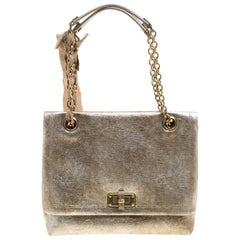 Lanvin Gold Leather Happy Shoulder Bag