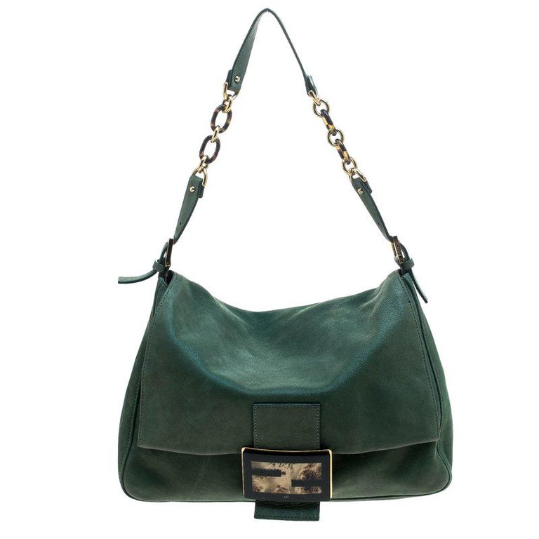 1ac08e65a7b Fendi Green Shimmering Leather Mama Forever Shoulder Bag For Sale at ...