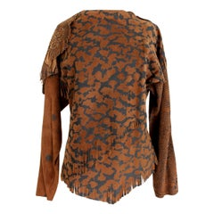 1990s Pancaldi Brown Leather Fringes Country Spotted Vintage Shirt Tunic