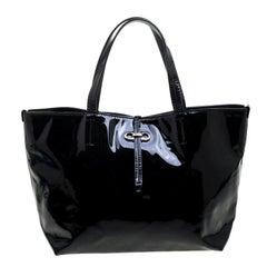 Salvatore Ferragamo Black Patent Leather Small Gavina Tote